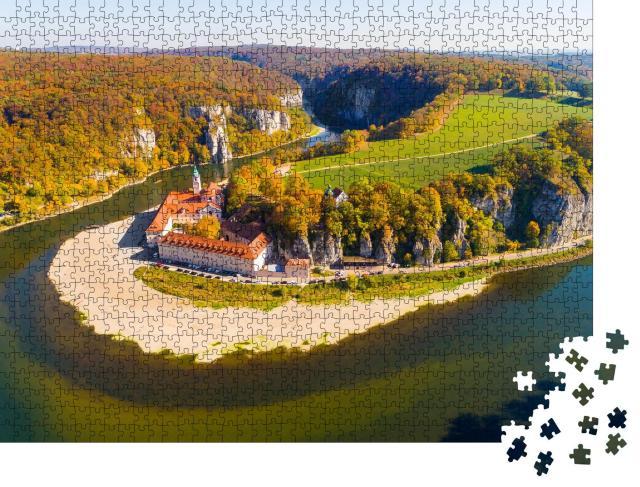 """Puzzle 1000 Teile """"Vogelperspektive: Kloster Weltenburg an der Donau in Bayern"""""""