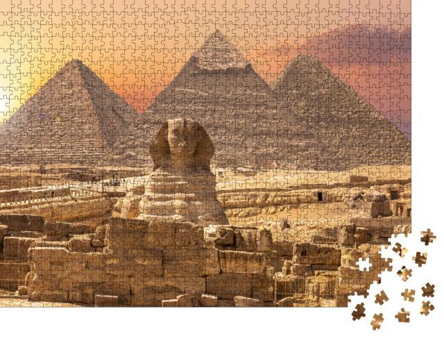 """Puzzle 1000 Teile """"Weltwunder aus Ägypten: Pyramiden mit Sphinx, Gizeh"""""""