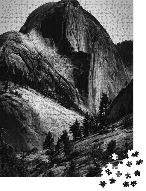 """Puzzle 1000 Teile """"Half Dome im Yosemite National Park, schwarz-weiß"""""""