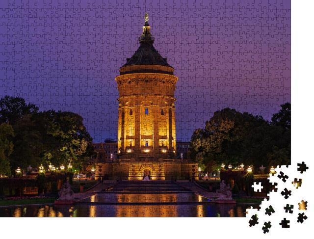 """Puzzle 1000 Teile """"Blaue Stunde am Wasserturm von Mannheim, Deutschland"""""""