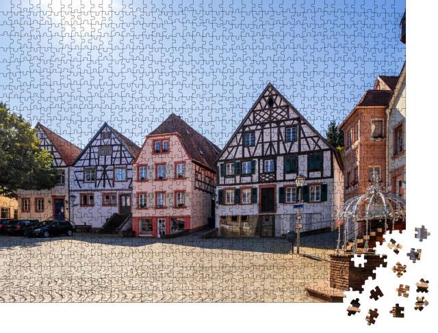 """Puzzle 1000 Teile """"Rathausplatz und Turm, Ottweiler, Saarland, Deutschland"""""""