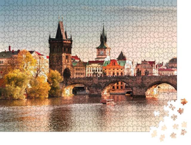 """Puzzle 1000 Teile """"Karlsbrücke im Sonnenuntergang, Prag, Tschechische Republik"""""""