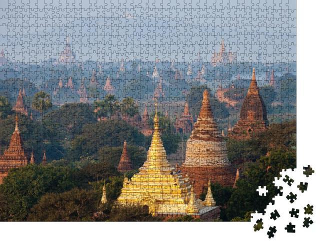 """Puzzle 1000 Teile """"Mystische Aufnahme der alten Tempel in Bagan, Myanmar"""""""