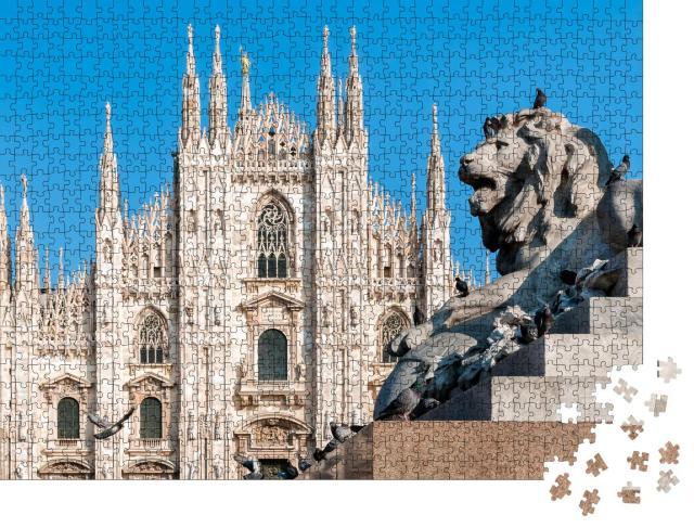 """Puzzle 1000 Teile """"Mailänder Dom mit Löwendenkmal, Italien"""""""