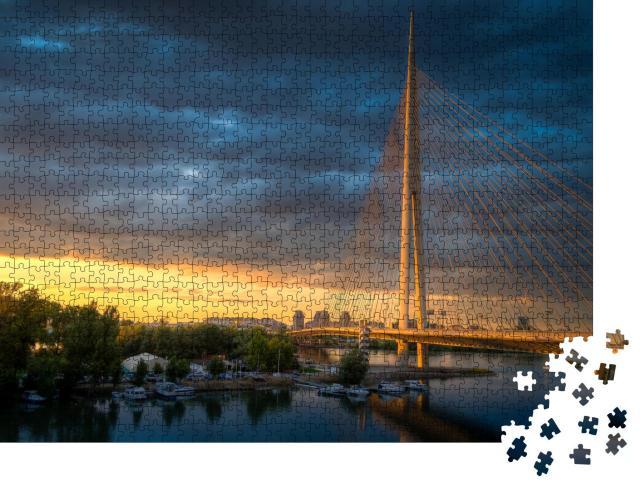 "Puzzle 1000 Teile ""Hängebrücke in Belgrad - Most na Adi"""