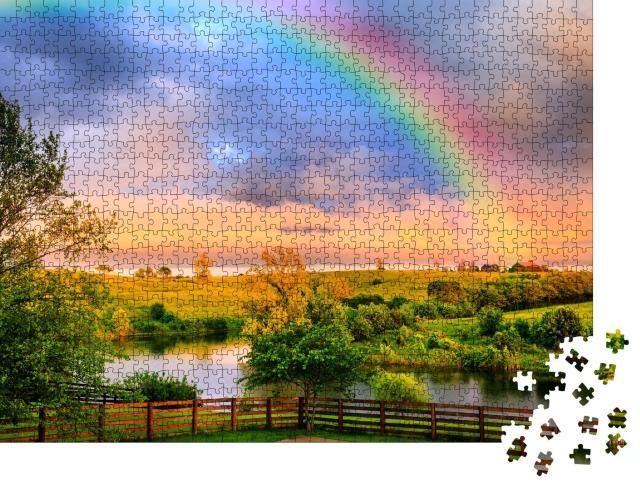 """Puzzle 1000 Teile """"Ruhige Landschaft nach dem Sturm mit leuchtendem Regenbogen"""""""