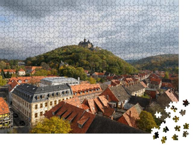 """Puzzle 1000 Teile """"Wernigerode mit seinem mittelalterlichen Schloss über der Stadt"""""""