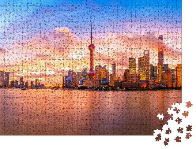"Puzzle 1000 Teile ""Skyline bei Sonnenuntergang in Shanghai"""