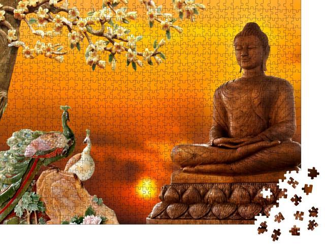 """Puzzle 1000 Teile """"3D Buddha als Hintergrund"""""""