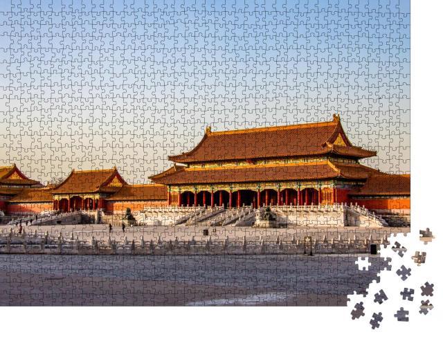 """Puzzle 1000 Teile """"Die Verbotene Stadt, der alte Palast in Peking, China, bei Sonnenuntergang"""""""