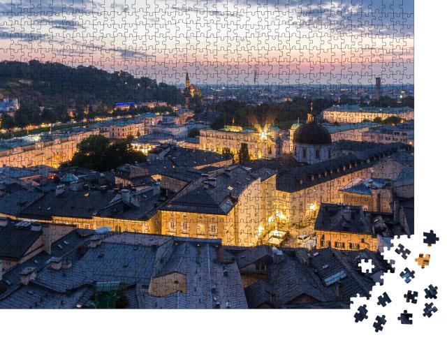 """Puzzle 1000 Teile """"Skyline der Stadt Salzburg, Luftaufnahme des Mozart-Wohnhauses, Österreich"""""""