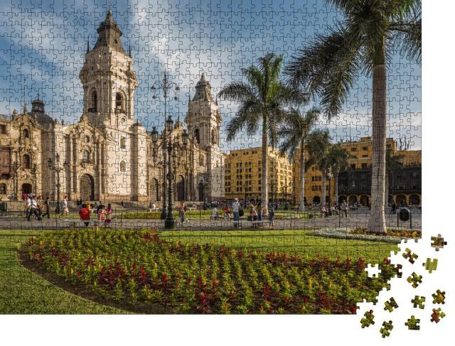 """Puzzle 1000 Teile """"Kathedralkirche und Hauptplatz der Innenstadt von Lima, Peru"""""""