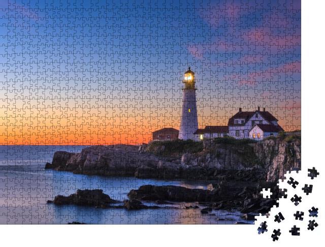 """Puzzle 1000 Teile """"Leuchtturm am Cape Elizabeth, Maine, USA"""""""