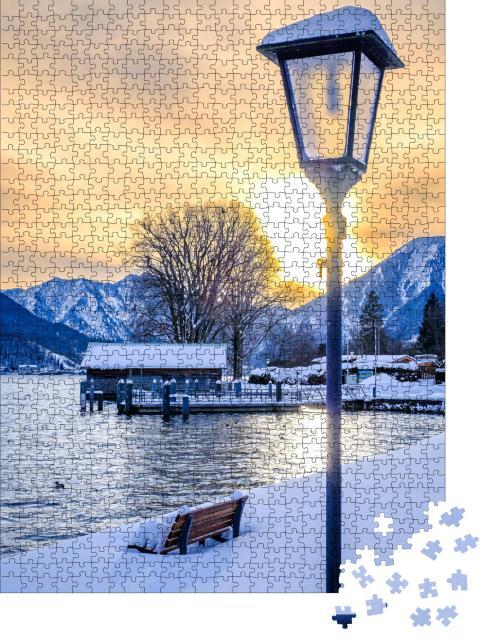 """Puzzle 1000 Teile """"Winterlandschaft am Tegernsee in Bayern"""""""