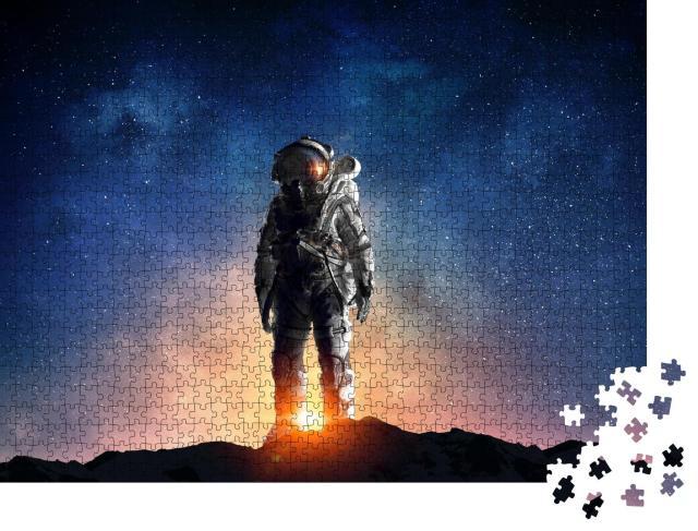 """Puzzle 1000 Teile """"Astronaut mit Weltraum im Hintergrund"""""""
