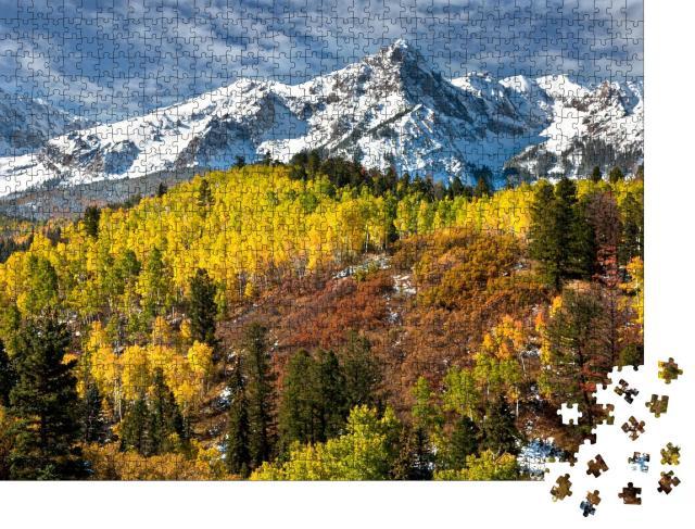 """Puzzle 1000 Teile """"Rocky Mountains, Colorado, Herbst, bunte Blätter, schneebedeckte Berge"""""""