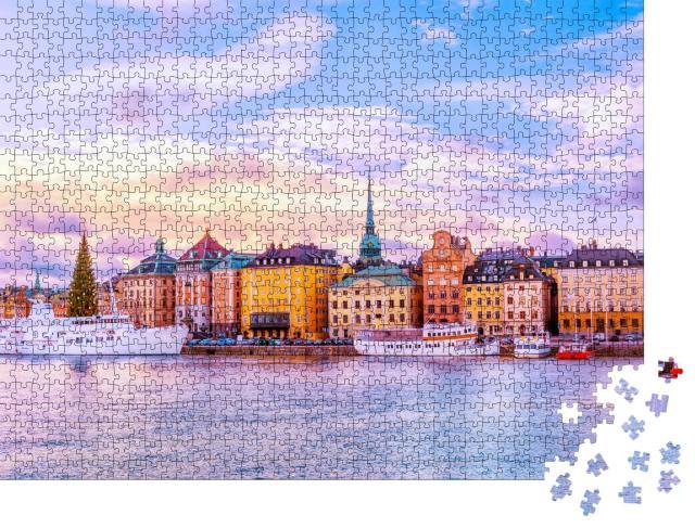 """Puzzle 1000 Teile """"Panorama von Gamla Stan, Altstadt von Stockholm, Schweden"""""""
