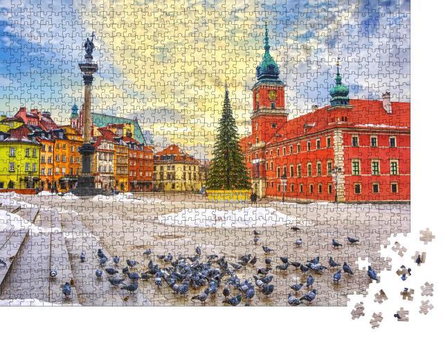 """Puzzle 1000 Teile """"Altstadt von Warschau mit Schloss, Sigismund-Säule und Bürgerhäusern"""""""