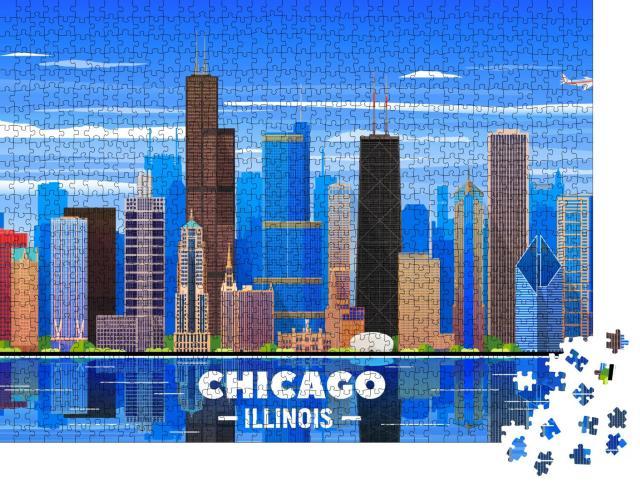 """Puzzle 1000 Teile """"Skyline von Chicago auf einem Hintergrund"""""""