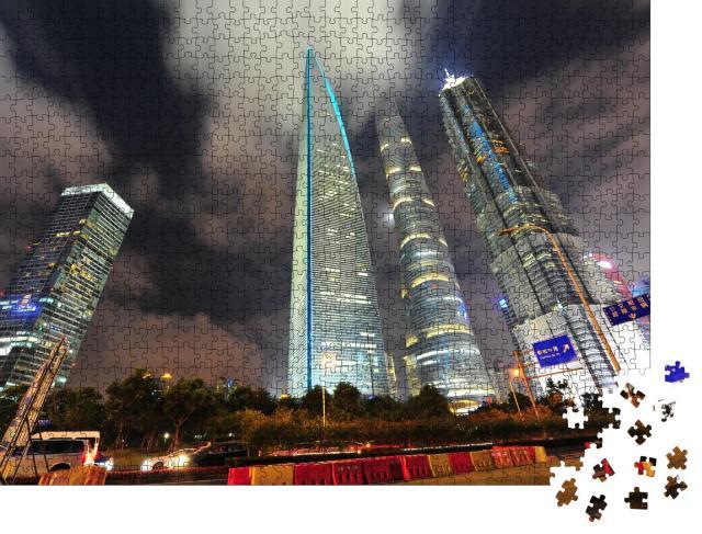 """Puzzle 1000 Teile """"Nachtansicht des Finanzzentrums Lujiazui in Shanghai, China"""""""