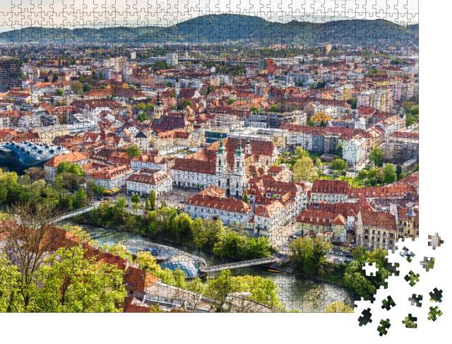 """Puzzle 1000 Teile """"Luftaufnahme von Stadtzentrum Graz, Österreich"""""""
