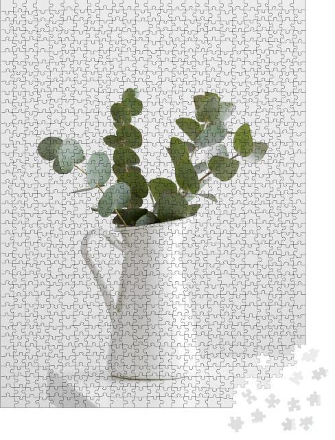 """Puzzle 1000 Teile """"Eukalyptuszweige in einer Vase auf einem weißen Tisch"""""""