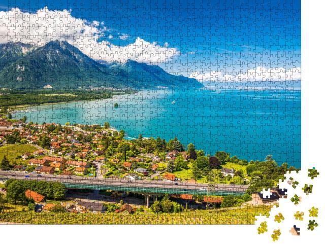 """Puzzle 1000 Teile """"Panoramablick auf Villeneuve am Genfer See, Schweiz"""""""