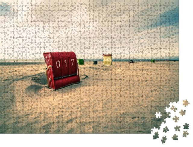 """Puzzle 1000 Teile """"Strand mit Strandkorb in Borkum, Deutschland"""""""