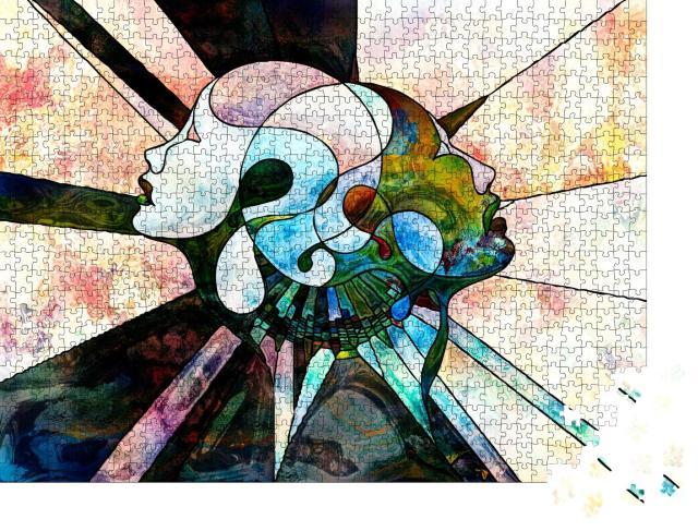 """Puzzle 1000 Teile """"Menschliches Zusammenspiel: Abstrakte Muster und Formen"""""""