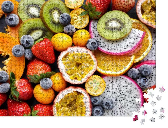"""Puzzle 1000 Teile """"Exotische frische Früchte, Pasiosnfrucht, Kiwi und mehr"""""""