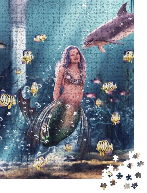 """Puzzle 1000 Teile """"Digitale Kunst: Meerjungfrau mit ihrem Delfin"""""""