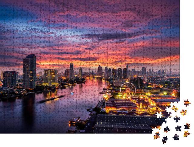 """Puzzle 1000 Teile """"Sonnenaufgang über dem Geschäftsviertel von Bangkok"""""""