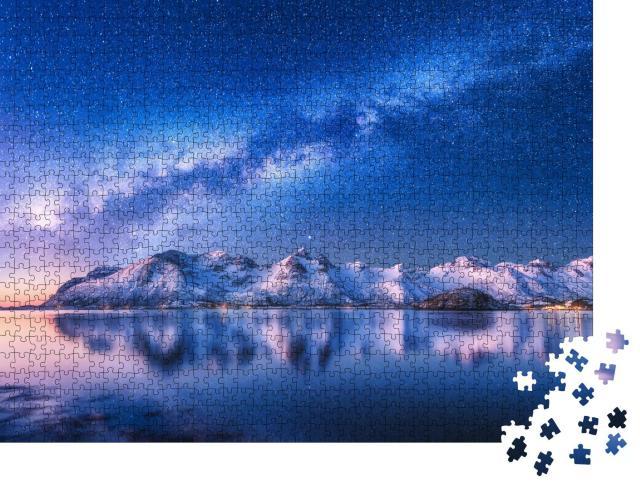 """Puzzle 1000 Teile """"Milchstraße über einer Winternacht in Norwegen"""""""