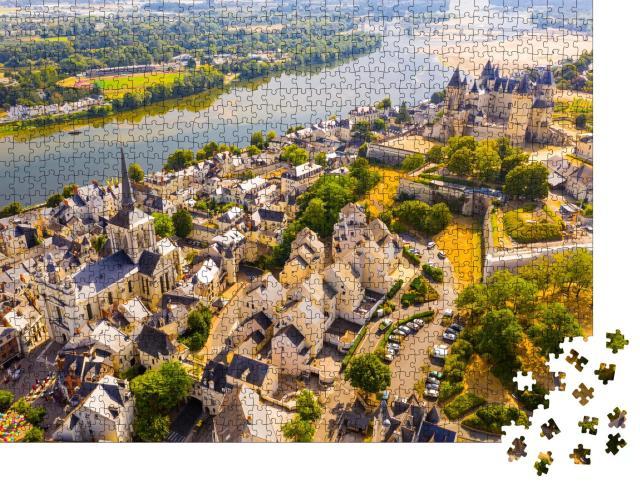 """Puzzle 1000 Teile """"Stadt Saumur mit mittelalterlicher Burg am Ufer der Loire, Frankreich"""""""