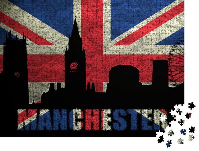 """Puzzle 1000 Teile """"Digitale Kunst: Skyline von Manchester auf britischer Grunge-Flagge"""""""