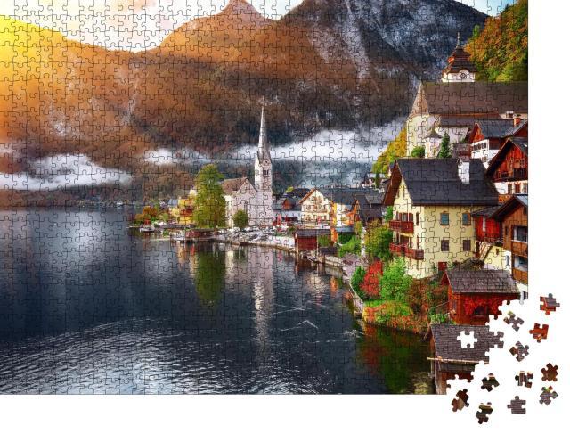 """Puzzle 1000 Teile """"Bergdorf Hallstatt mit Hallstätter See, Alpen, Österreich"""""""