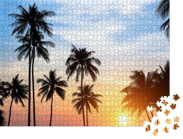 """Puzzle 1000 Teile """"Silhouetten von Palmen im tropischen Sonnenuntergang"""""""