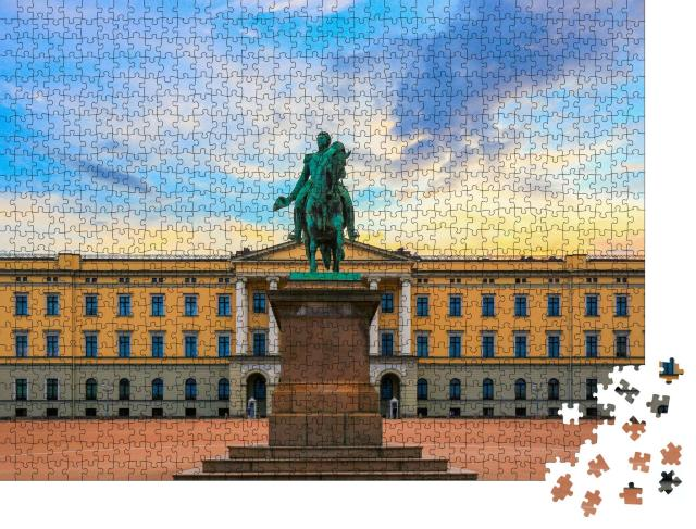 """Puzzle 1000 Teile """"Königspalast und Statue von König Karl Johan bei Sonnenuntergang, Oslo"""""""