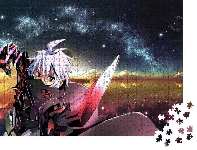 """Puzzle 1000 Teile """"Ein schöner Anime-Junge hält ein Schwert"""""""