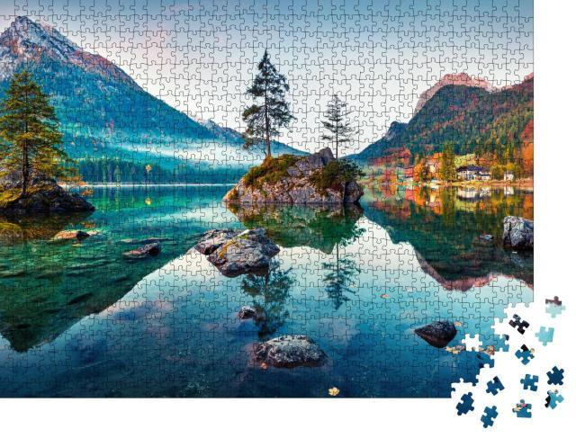 """Puzzle 1000 Teile """"Herbst am Hintersee: Bayerische Alpen am Morgen, Deutschland"""""""