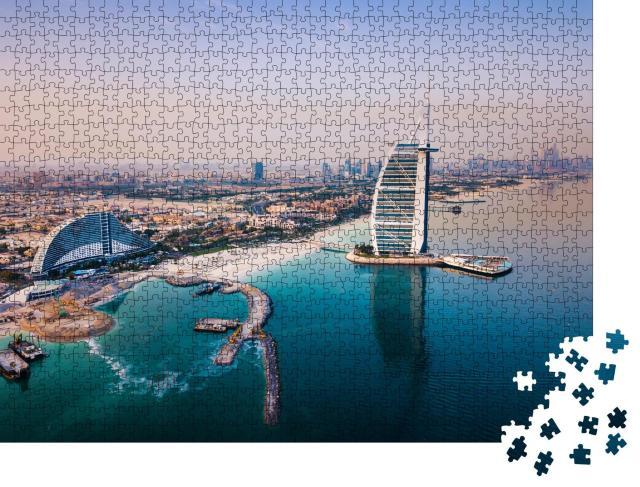 """Puzzle 1000 Teile """"Das Luxushotel Burj Al Arab und die Skyline des Hafens von Dubai"""""""