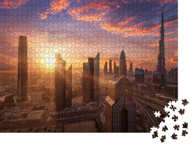 "Puzzle 1000 Teile ""Wunderschöner Sonnenuntergang in Dubai Downtown"""