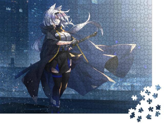"""Puzzle 1000 Teile """"Zeichnung eines Ritters, Mädchen-Anmie"""""""