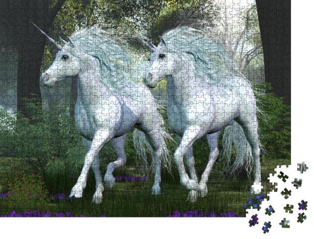 """Puzzle 1000 Teile """"Zwei weiße Einhörner tänzeln durch einen Ulmenwald voller Frühlingsblumen"""""""