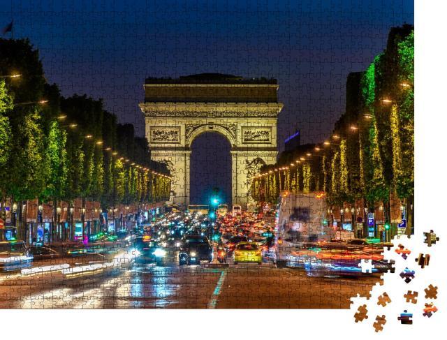 """Puzzle 1000 Teile """"Champs-Elysees und Arc de Triomphe bei Nacht, Paris, Frankreich"""""""