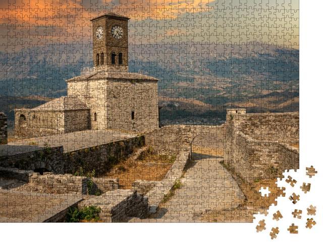 """Puzzle 1000 Teile """"Uhrenturm und Festung in Gjirokaster, Albanien"""""""