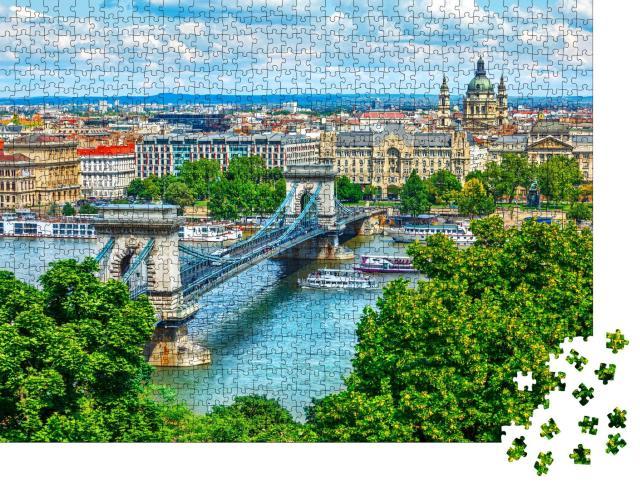 """Puzzle 1000 Teile """"Kettenbrücke über der Donau in der Stadt Budapest, Ungarn"""""""