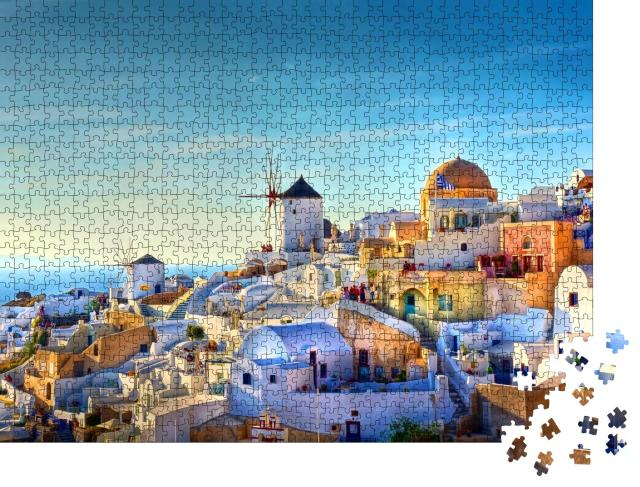 """Puzzle 1000 Teile """"Blick über das Dorf Oia auf der Insel Santorin, Griechenland"""""""