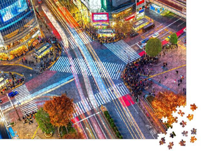 """Puzzle 1000 Teile """"Luftaufnahme der einzigartigen Shibuya-Kreuzung, Tokio, Japan"""""""