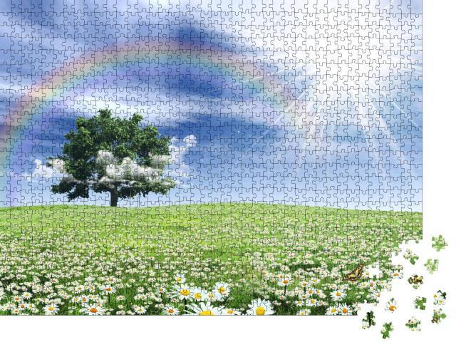 """Puzzle 1000 Teile """"Regenbogen über einer mit Blumen bewachsenen Frühlingswiese"""""""